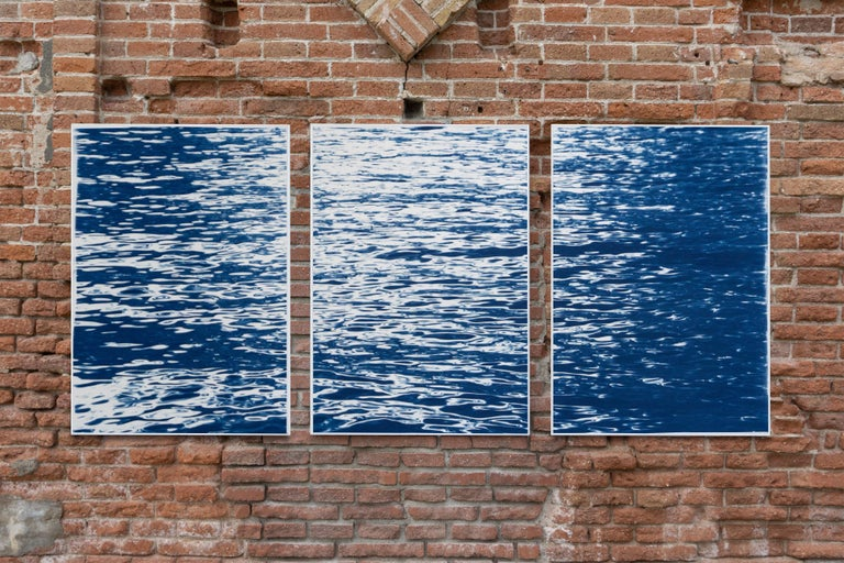 Moonlight Ripples over Lake Como, Nautical Cyanotype Triptych of Moving Water 4