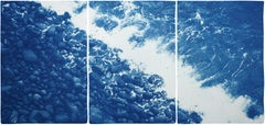 Nautical Triptych of British Pebble Beach, Handmade Cyanotype, Watercolor Paper