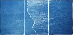 Blue Subtle Seascape of Calm Costa Rica Shore, Minimal Triptych Cyanotype