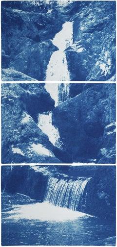 Vertical Triptych of Zen Forest Waterfall, Multi Panel Cyanotype, Feng Shui Art
