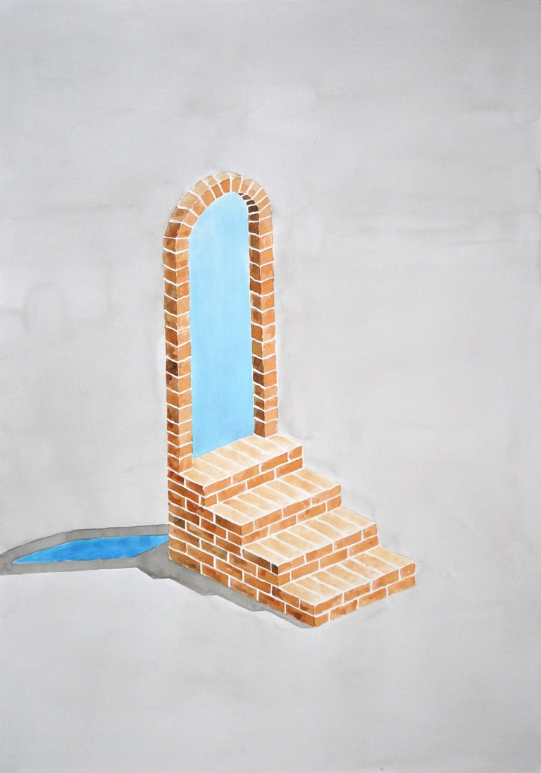 """"""" Industrial Brick Sculpture """" is a hand-painted watercolor painting on high-quality 210g Fabriano paper of a minimalist architectural sculpture, drawn and painted in the style of Sol Lewitt and other minimalist artists of the 60's and 70's.  Frame"""