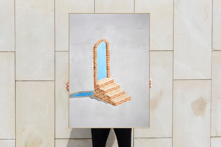 Industrial Brick Sculpture in Grey by Ryan Rivadeneyra, Architectural Watercolor For Sale 1