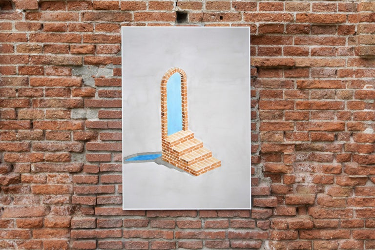 Industrial Brick Sculpture in Grey by Ryan Rivadeneyra, Architectural Watercolor For Sale 3