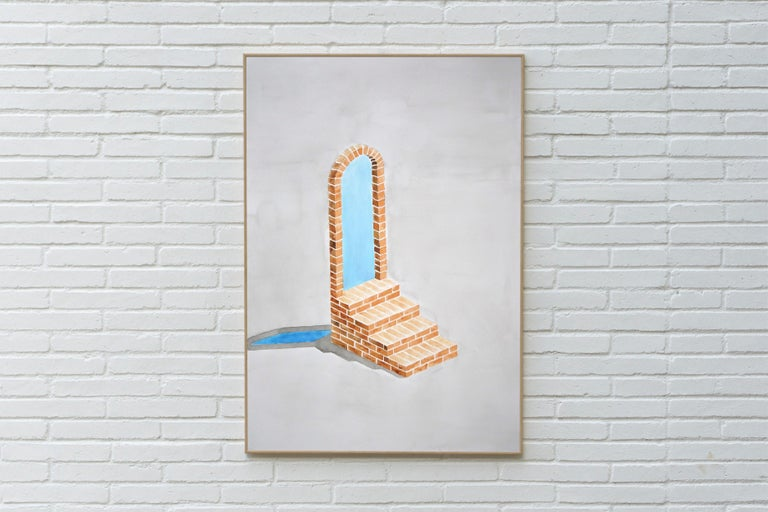 Industrial Brick Sculpture in Grey by Ryan Rivadeneyra, Architectural Watercolor For Sale 6