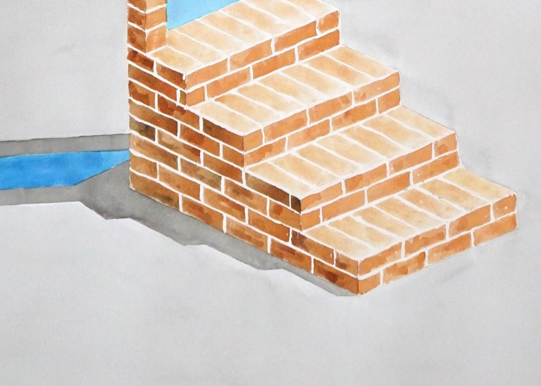 Industrial Brick Sculpture in Grey by Ryan Rivadeneyra, Architectural Watercolor For Sale 4