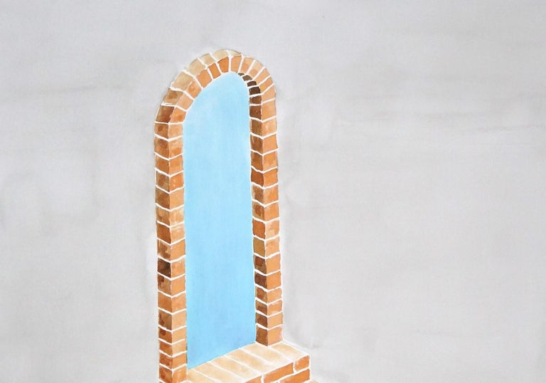 Industrial Brick Sculpture in Grey by Ryan Rivadeneyra, Architectural Watercolor For Sale 5