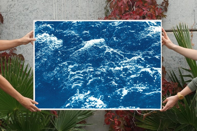 This is an exclusive handprinted limited edition cyanotype.   This exquisite cyanotype shows organic pool water bubbles creating abstract patterns.   Details: + Title: Pool Water Bubbles + Year: 2020 + Edition Size: 100 + Stamped and Certificate of