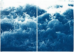 Tempestuous Tidal in Blue, Stormy Seascape Diptych, Cyanotype Print, Maker, Blue
