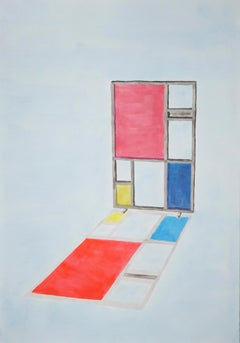 Mondrian Screen Divider, Contemporary Painting on Paper, Modern Architecture
