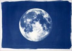 Blue Moon, Cyanotype on Watercolor Paper, 100x70cm, Full Moon Art, Large Print
