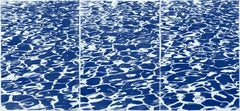 Large Nautical Triptych of Fresh California Pool Patterns, Handprinted Cyanotype