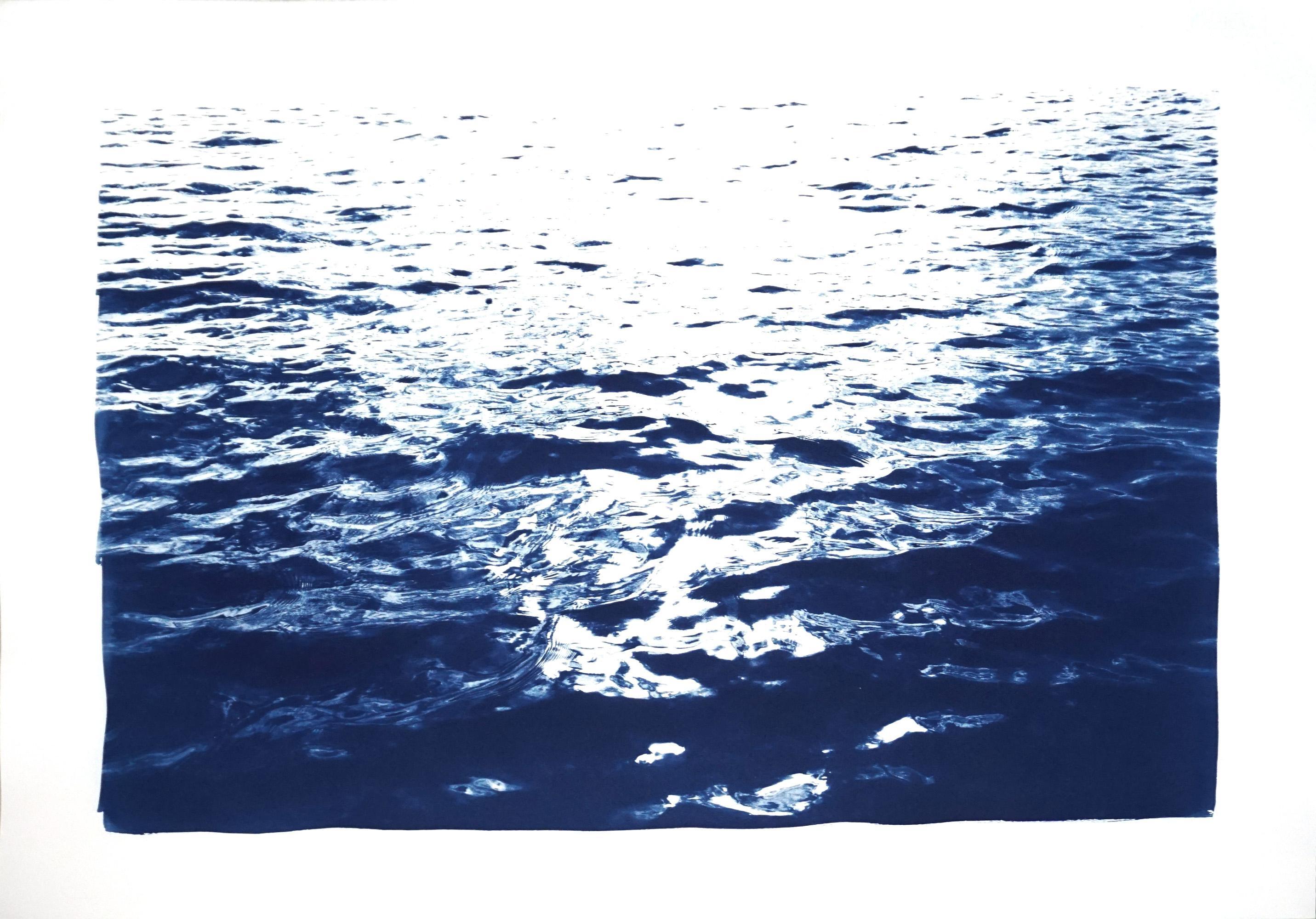 Bright Sunrise Bay, Handmade Cyanotype on Paper, Classic Nautical, Blue Navy