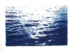 Bright Sunrise Bay, Handmade Cyanotype on Paper, Classic Nautical, Blue Navy