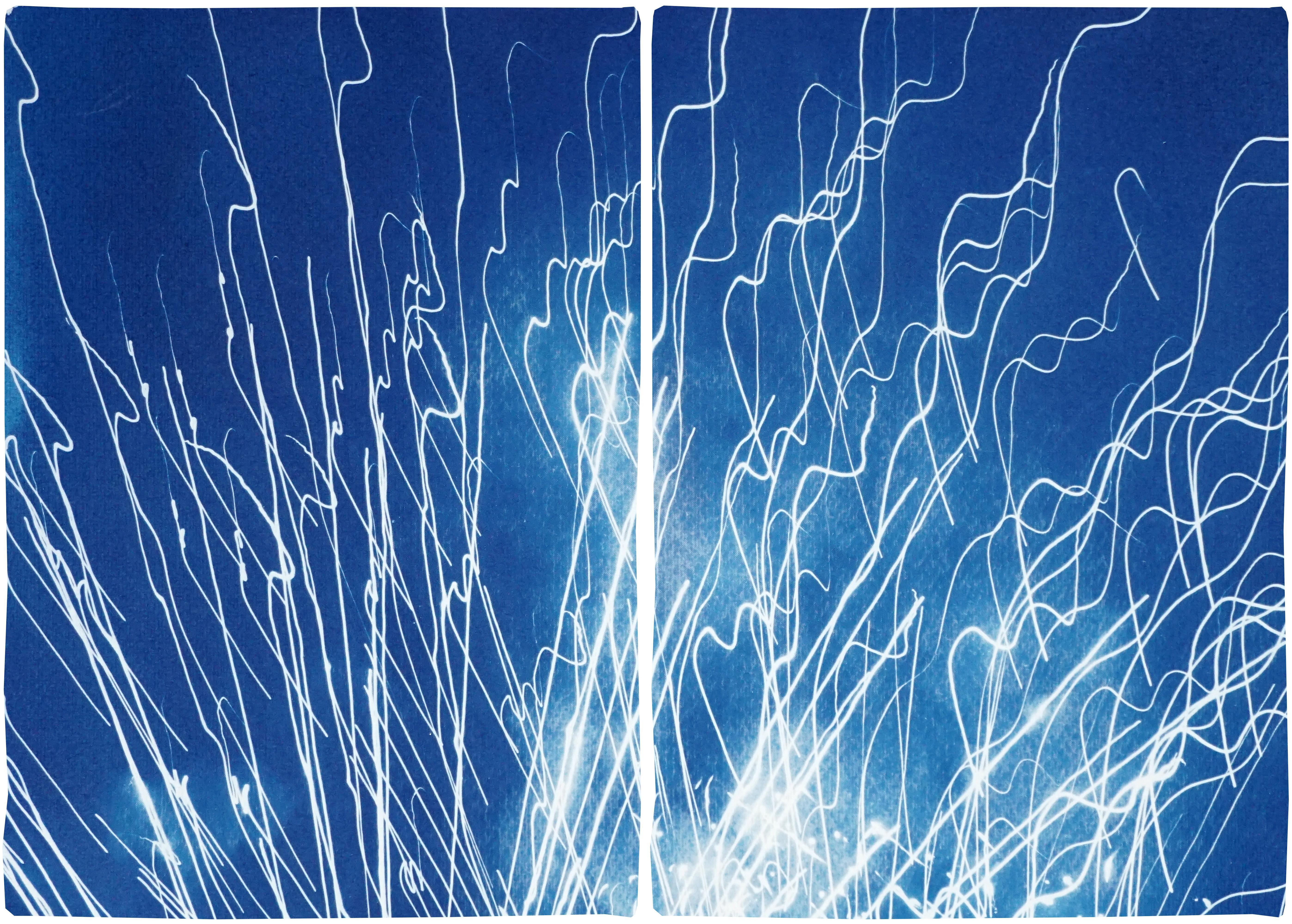 Fireworks Lights in Sky Blue Diptych, Handmade Cyanotype on Watercolor Paper,