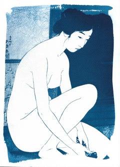Hashiguchi Goyo Inspired Ukiyo-e, Nude Cyanotype, Handmade Japanese Scene, 2021