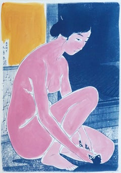 Hashiguchi Goyo Inspired Ukiyo-e, Nude Cyanotype, Handmade Painting Touch, 2021