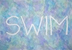 Swim, Summer Fresh Painting on Paper, Word Art Pastel Tones Typography in Purple