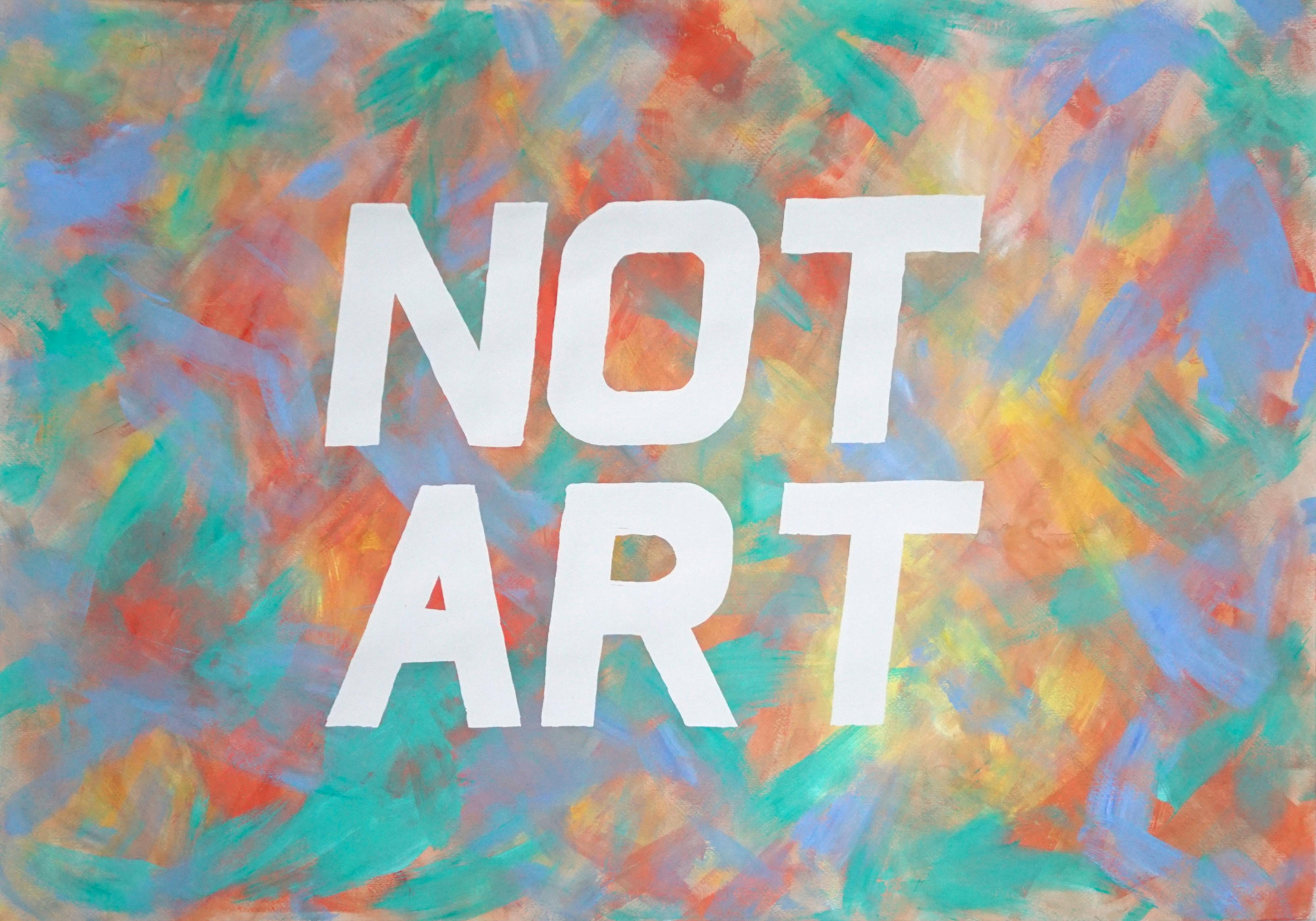 Not Art, Word Art Calligraphy Painting, Acrylic Vivid Background, Red and Green