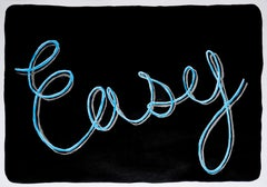 Easy, Black Background Calligraphy Painting on Paper, Word Art, Sky Blue, Grey