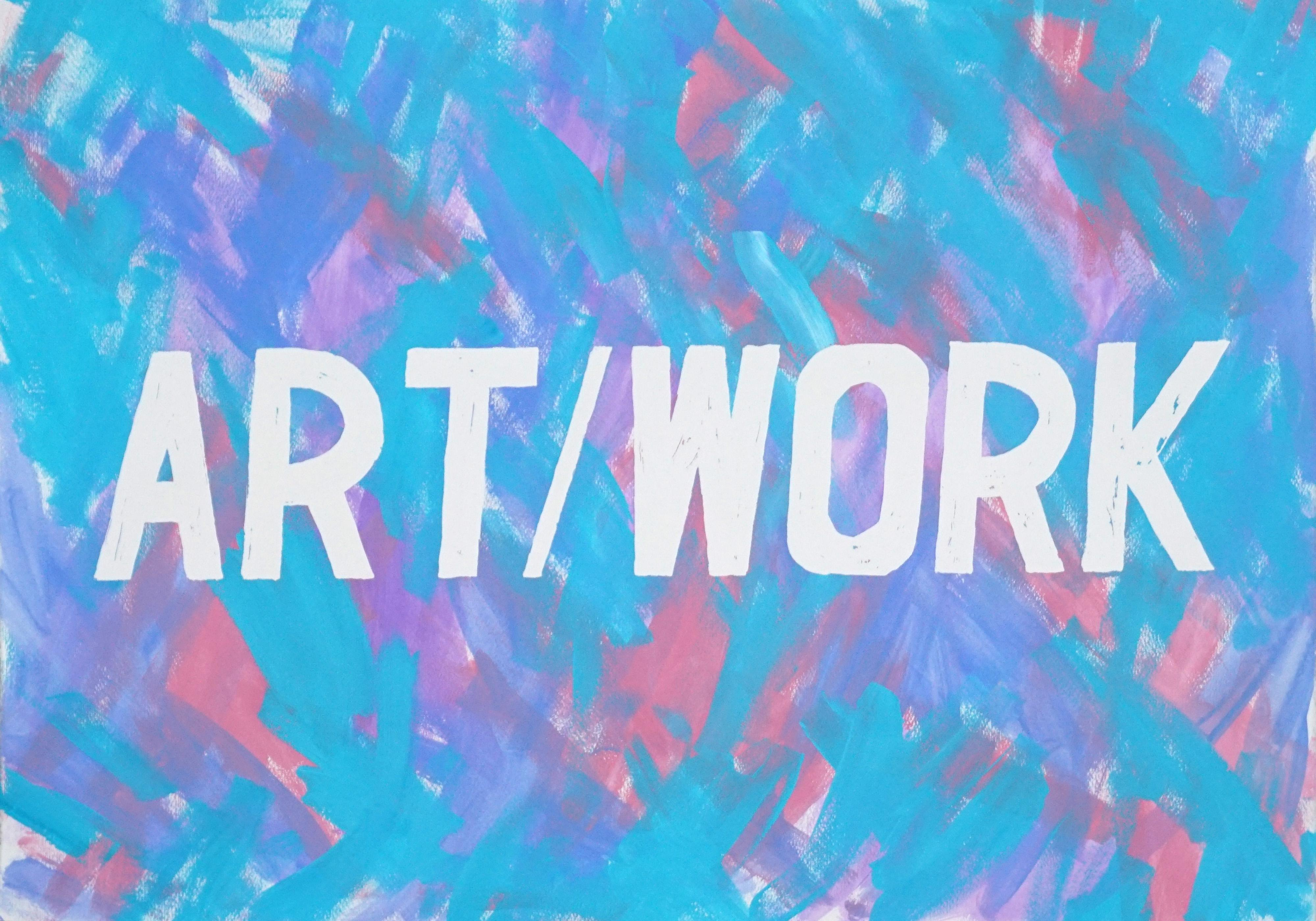 Art - Work, Word Art Calligraphy Painting, Acrylic Vivid Background, Cool Tones