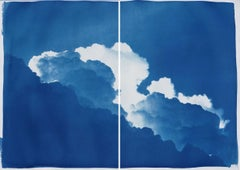 Yves Klein Clouds, Cyanotype Diptych Skyscape on Paper, Blue Spring Time Clouds