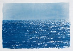 Coastal Blue Cyanotype of Day Time Seascape, Cold Waves, Nautical Painting Shore
