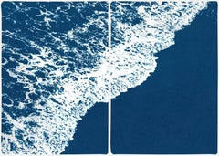 Nautical Diptych of Deep Blue Sandy Shore, Original Cyanotype, Minimal Seascape