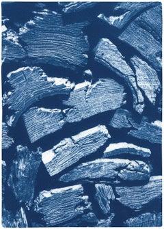 Palette Knife Wood Texture, Blue Tones Handmade Cyanotype Print, Naturalistic