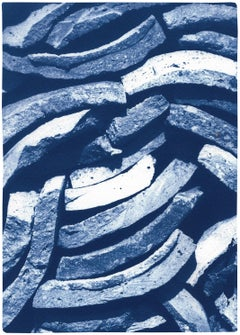Country House Art of Stacked Curves Tiles in Blue Tones, Large Cyanotype Print