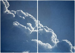 Diptych of Floating Clouds, Blue Tones Sky Scene Cyanotype Print of Silky Shapes