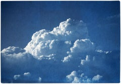 Majestic Cloudy Sky, Handmade Cyanotype Print on Watercolor Paper, Blue Nature