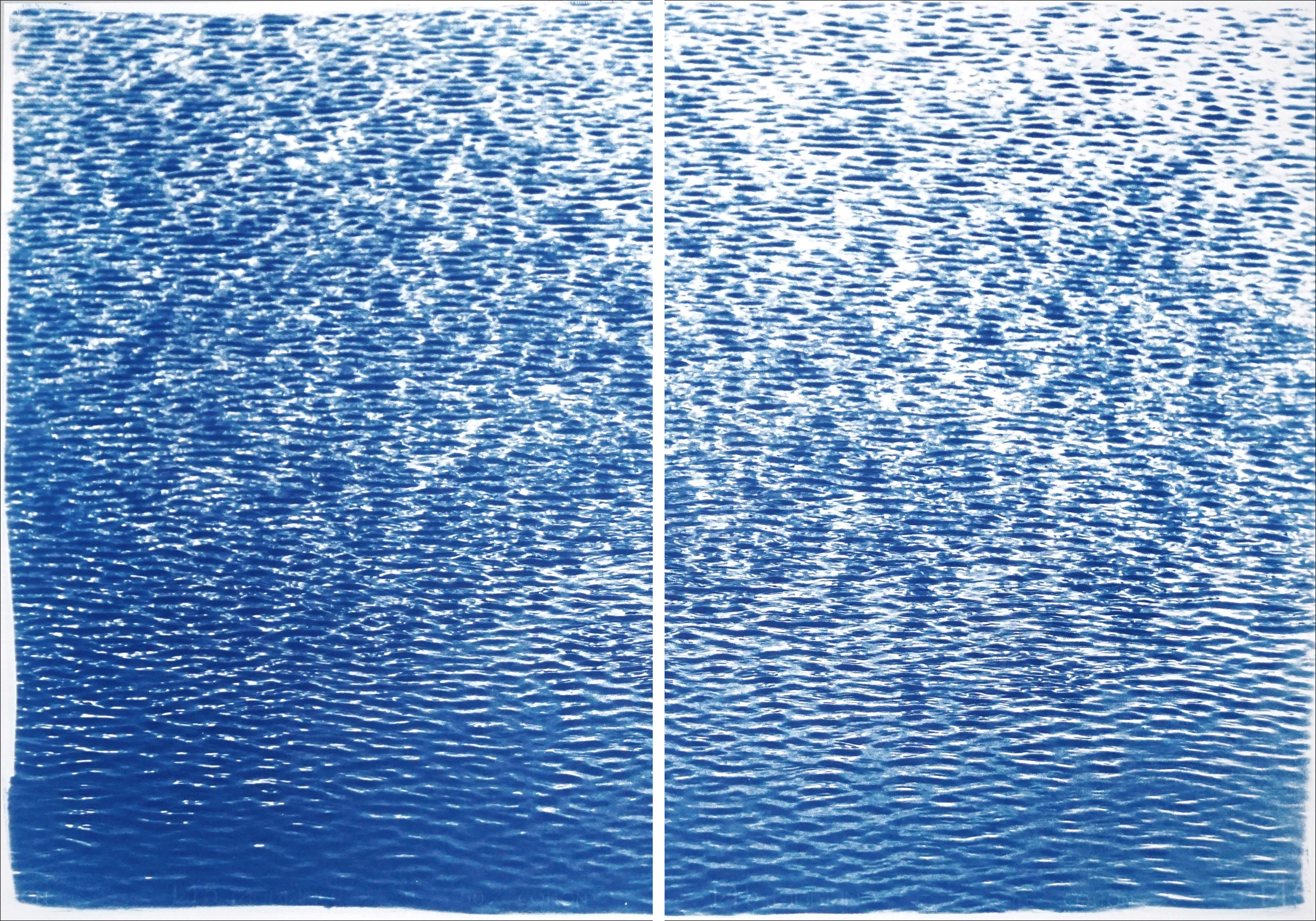 Cove Ripples Diptych, Serene Seascape Cyanotype, Mediterranean Blue Shore, Paper