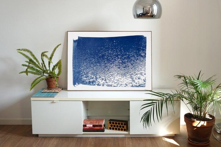 Lake Tahoe Panorama,  Minimal Blue Tones Cyanotype Print on Watercolor Paper, 1