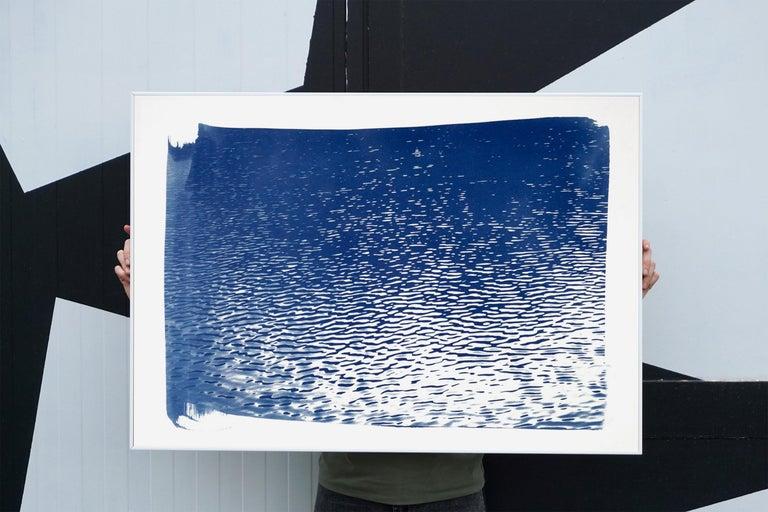 Lake Tahoe Panorama,  Minimal Blue Tones Cyanotype Print on Watercolor Paper, 3