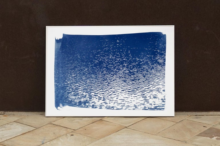 Lake Tahoe Panorama,  Minimal Blue Tones Cyanotype Print on Watercolor Paper, 5