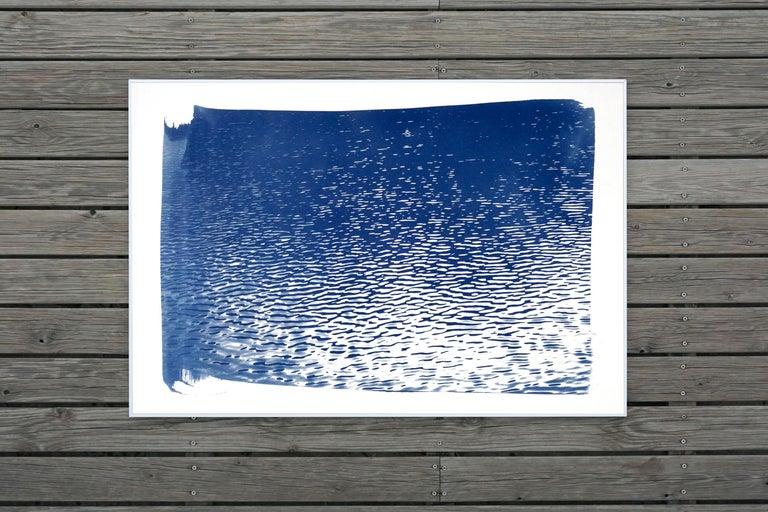 Lake Tahoe Panorama,  Minimal Blue Tones Cyanotype Print on Watercolor Paper, 6