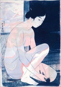 Hashiguchi Goyo Inspired Ukiyo-e, Nude Figures, Japanese Style Marbling in Mauve