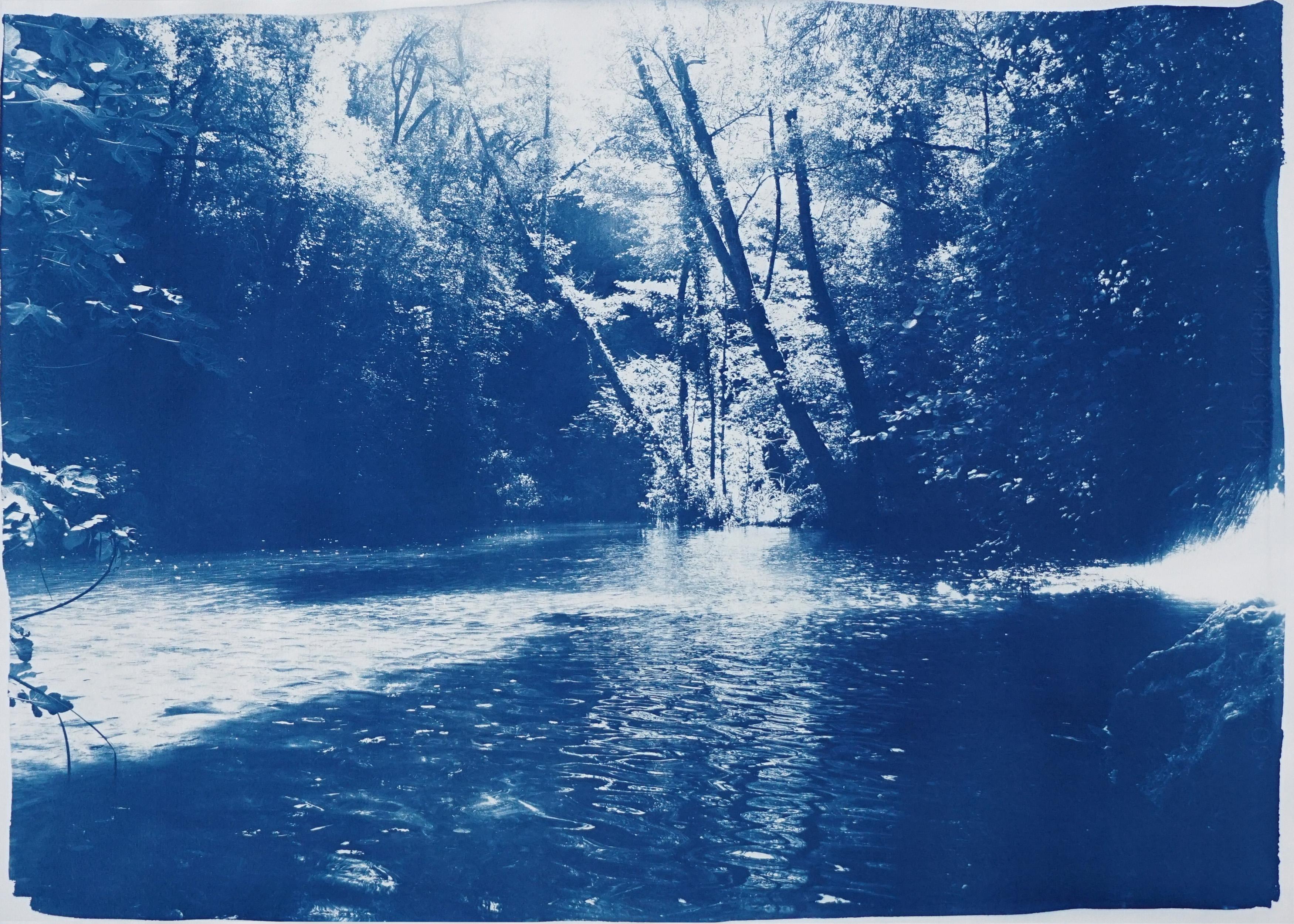 Romantic Landscape of Scandinavian Enchanted Forest, Large Lake Print Cyanotype
