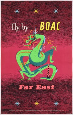 Original Vintage Airline Poster – Fly by BOAC – Far East, by Maurice Laban, 1956