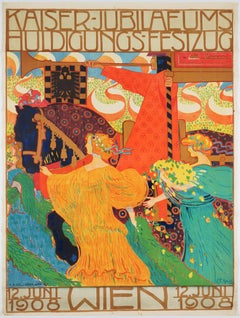 Original Vintage Secession Poster celebrating the emperor's jubilee, 1908