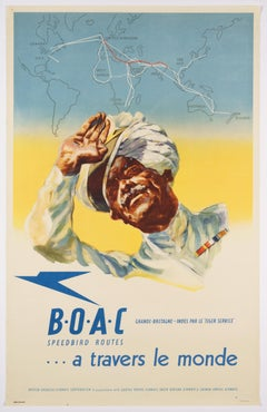 Original Vintage Airline Poster – BOAC Speedbird Routes – Across the World, 1946