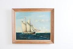 Danish Sailing Ship Painting Signed