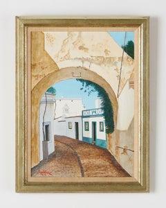 Mediterranean Street Scene with Arch