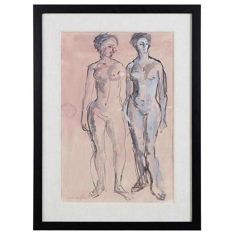 Midcentury Figural Nude Watercolor