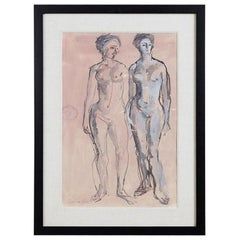 Midcentury Figural Nude Watercolor