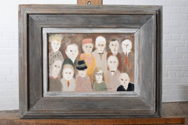 Mesmerizing oil on canvas expressionist painting depicting twelve figures or portraits. Signed and dated C. Price 1963. Art measures 12 inches wide by 8 inches high. Set in a distressed, painted wood frame. From an estate in Hollywood, CA.