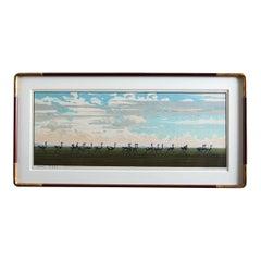 Ostrich Landscape Framed Wood Block Print