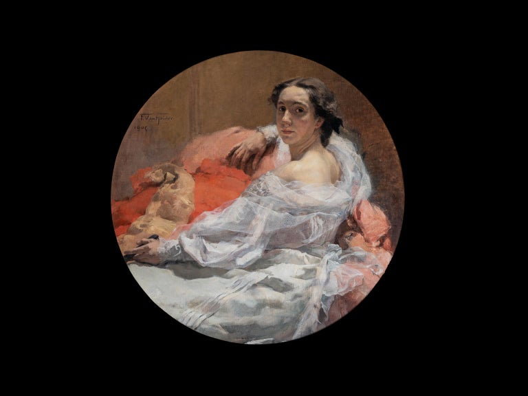 "VAN HOLDER Frans Portrait Painting - ""SEATED ELEGANT LADY, 1905"""