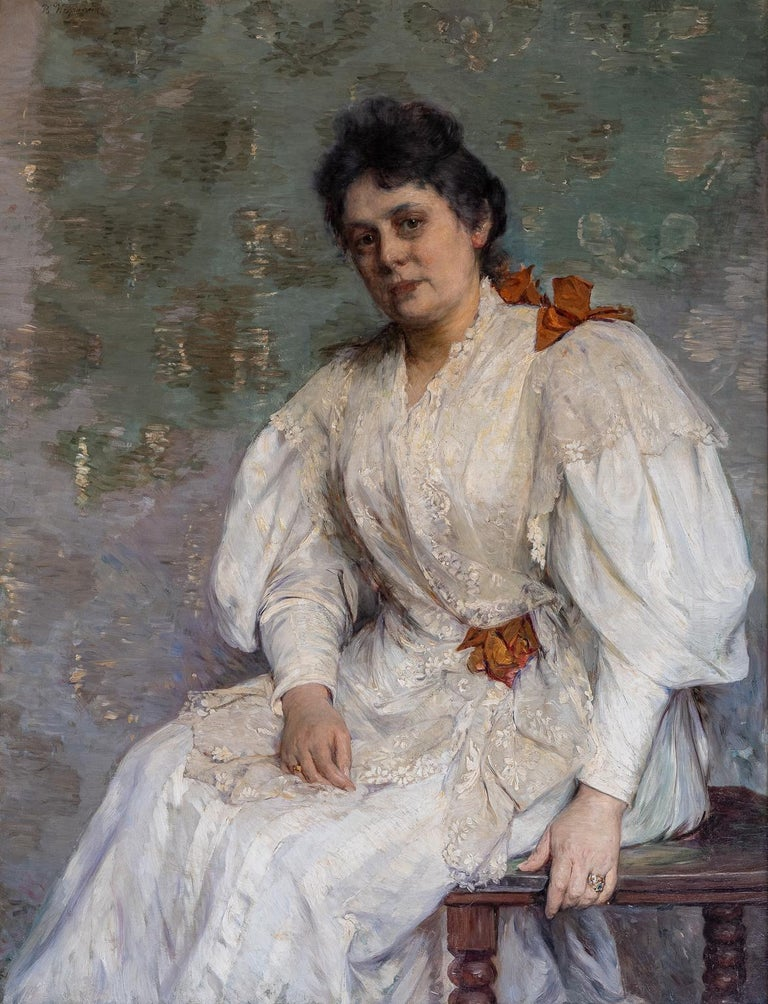 "WEGMANN Bertha Figurative Painting - ""SEATED ELEGANT LADY"""