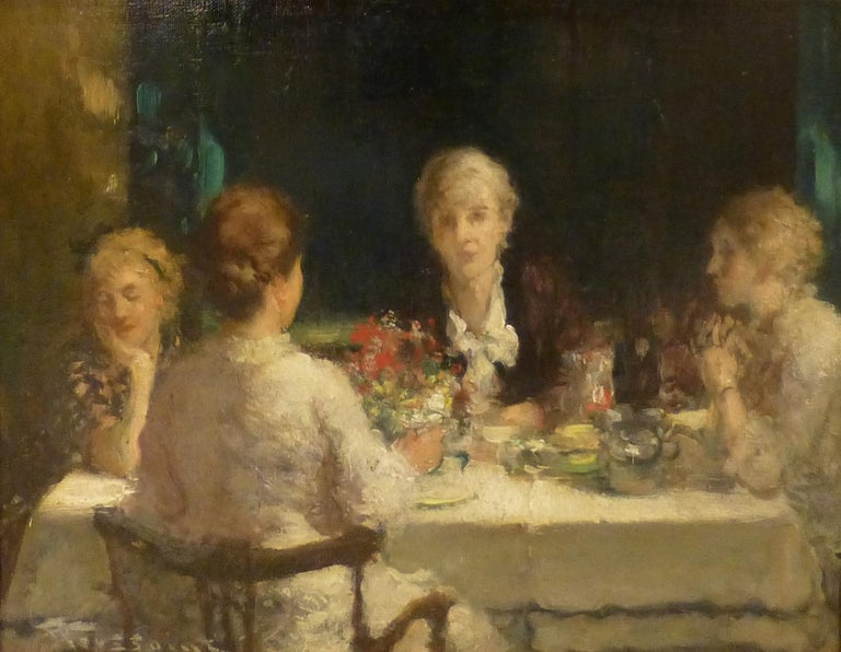 """Fernand Toussaint Figurative Painting - """"THE FOUR SISTERS"""""""